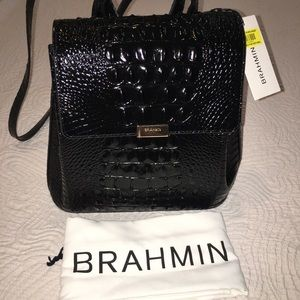 cd4b9f159 Brahmin Bags | Black Margo Backpack Croc Embossed Nwt | Poshmark